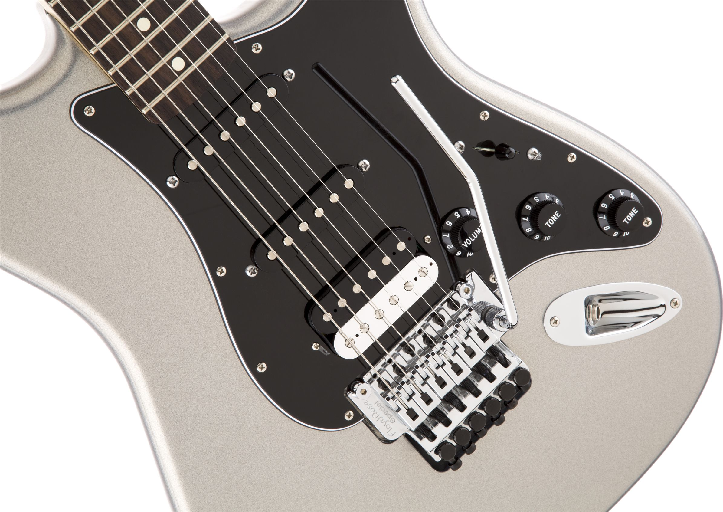 standard stratocaster hss with floyd rose tremolo ghost silver